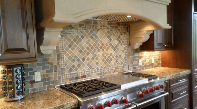 Slate Kitchen Backsplash Traditional