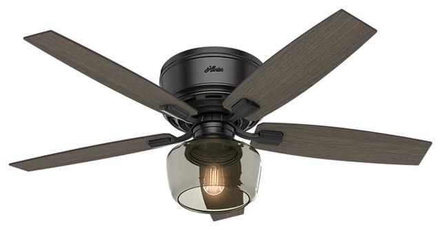 Hunter 52 bennett ceiling fan with light remote transitional hunter 52 bennett low profile light matte black ceiling fan light remote aloadofball Images