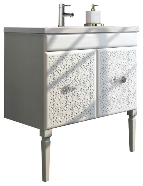 "Eviva Venice 32"" White Luxury Bathroom Vanity With Porcelain Integrated Sink.."