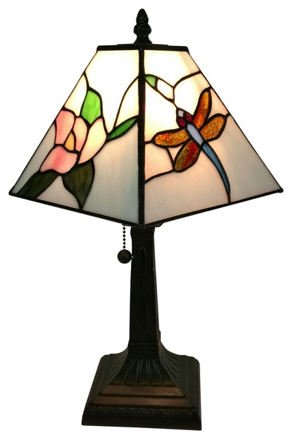 Tiffany Style  Mission Dragonfly Table Lamp  8 Inches Wide.