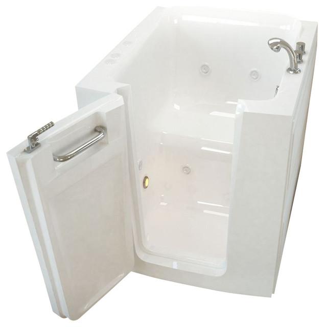 Meditub 32x38 Left Drain White Whirlpool Jetted Walk-In Bathtub.