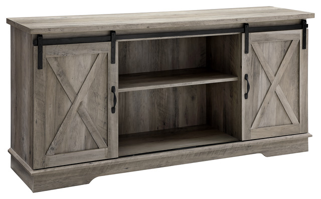 58 Farmhouse Sliding Barn Door Tv Stand Media Console Gray Wash