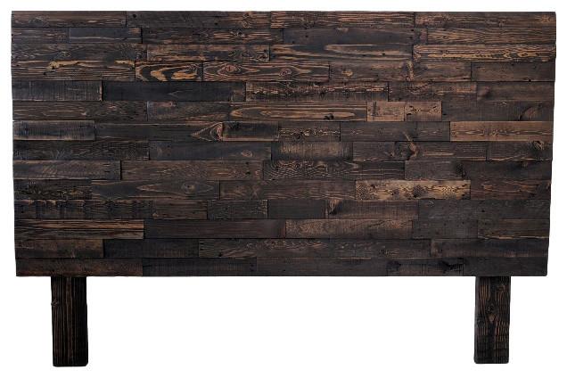 Reclaimed Wood Natural Headboard, Espresso, Twin.
