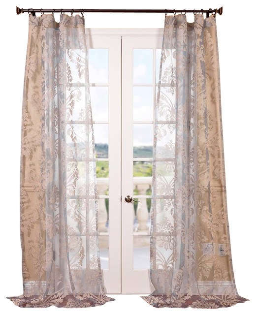Agatha Taupe Gray Patterned Sheer Curtain