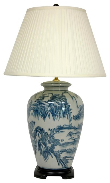 29 Quot Blue And White Chinese Landscape Lamp Asian Table