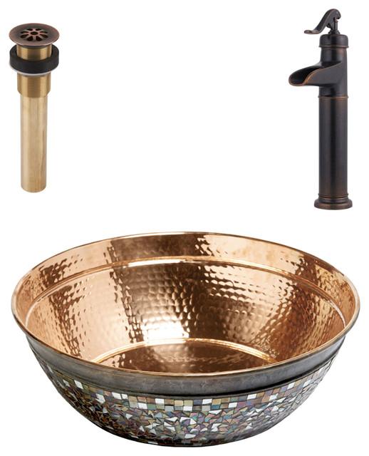 Bardeen Vessel Copper Sink Kit With Pfister Bronze Faucet & Drain