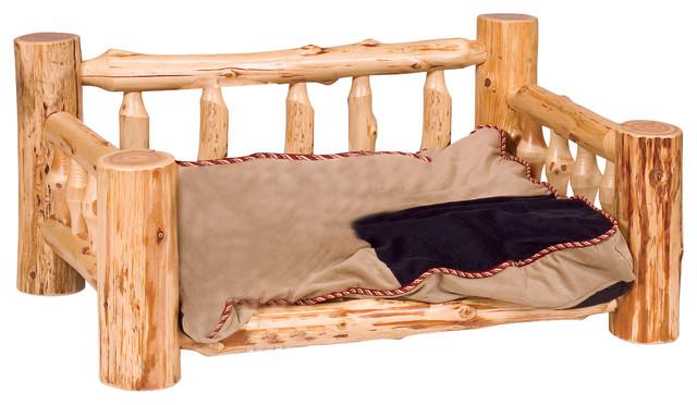 cedar dog bed with standard mattress traditional cedar - Lodge Furniture