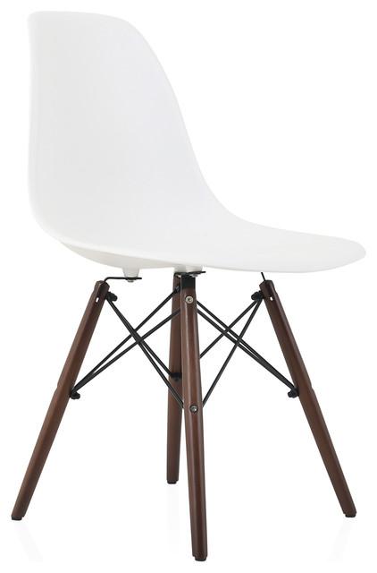 White DSW Dining Shell Chairs, Dark Walnut Wood Eiffel Legs, Single Chair