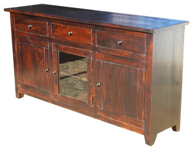 Rustic Glass Door Buffet 3 Drawer Storage Sideboard Cabinet