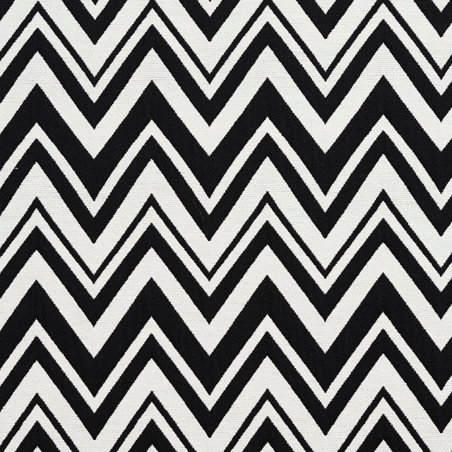 Black And White Chevron Zig Zag Upholstery Fabric By The