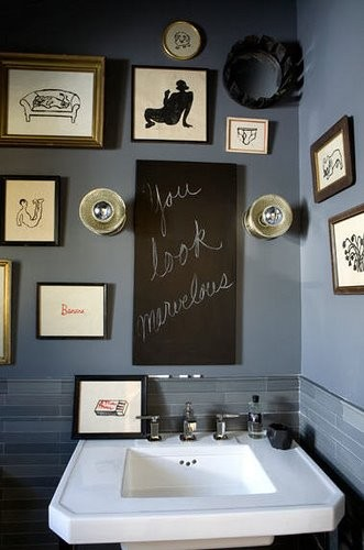 battleship blue bathroom eclectic bathroom