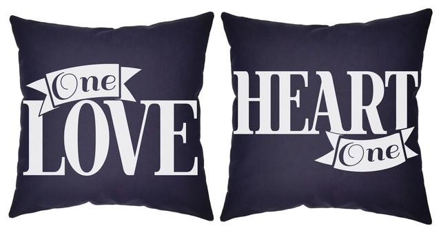 2 Piece, Love One Heart Throw Pillows 20x20 Blue Cushions