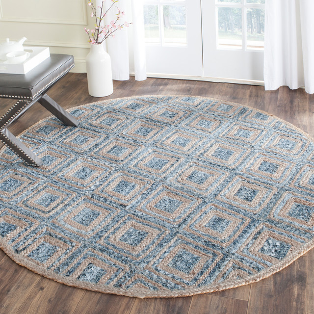 Emily Hand Woven Rug, Natural/blue, 6&x27;x6&x27; Round.