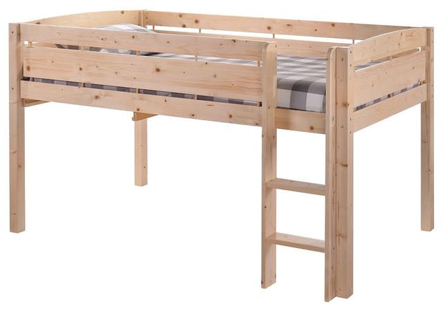 Kids Teens Bunk Loft Bed, Natural Wood Finish, Twin Size.
