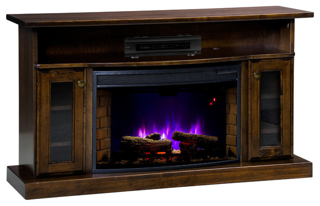 Galllatin Electric Fireplace, Elm Wood With Cherry Stain.