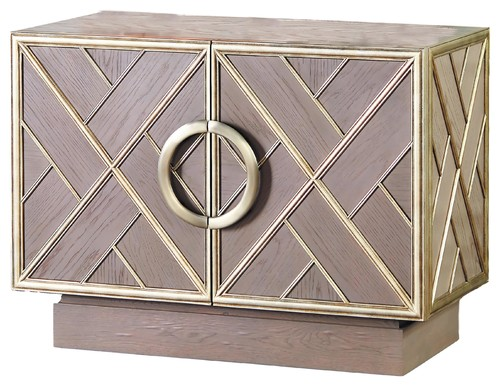Stunning Silver Solid Oak Wood Accent Chest, Table Fretwork Shelves Drawers
