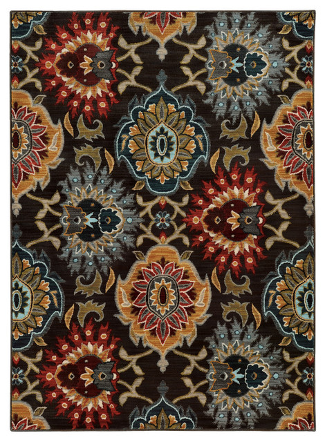 "Rufus Bold Floral Rug, Charcoal And Multi, 5&x27;3""x7&x27;6""."