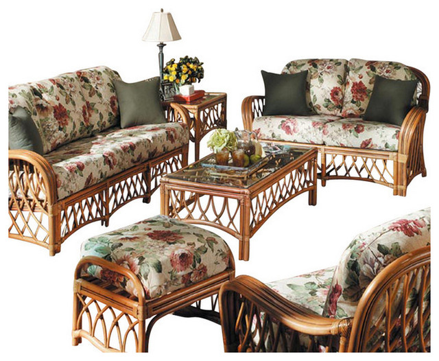 Spice islands wicker 5 piece montego bay living room set for 5 piece living room furniture