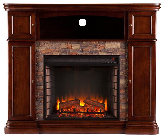 Warrington Faux Stone Electric Media Fireplace