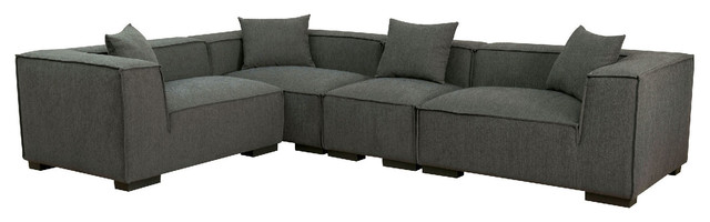 Langdon Contemporary Sectional Sofa Modular Left Right Chair Padded Fabric,  Gray