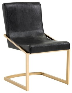 Modern Dining Chair With Crocodile Patterned Seat, Black