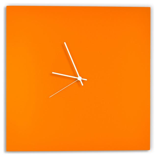 Orangeout Square Clock Minimalist Orange Metal Wall
