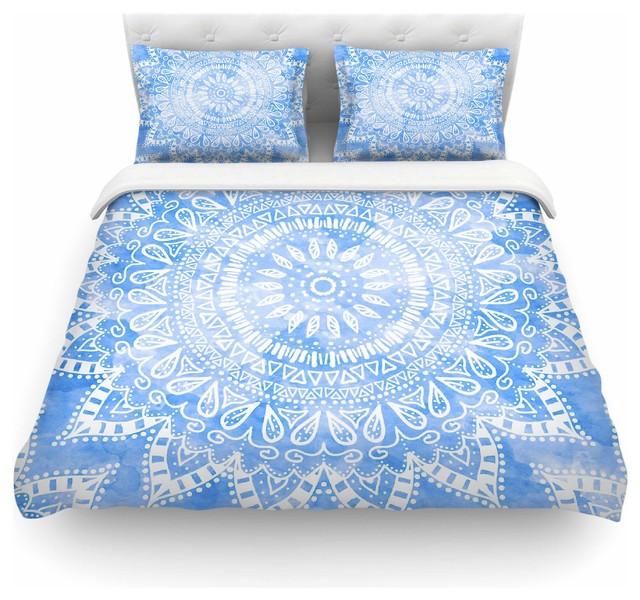 Nika Martinez Boho Flower Mandala In Blue Duvet Cover Queen