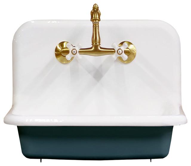 "24"" high back farm sink cast iron original porcelain wall"