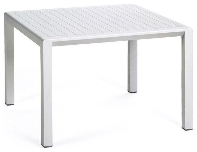 Aria Outdoor Side Table, White.