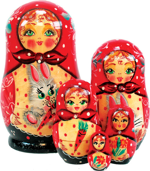 Russian 5 Piece Bunny Nested Doll Set.