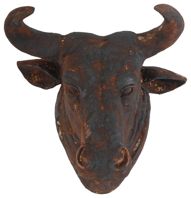 "Bull Head Wall Plaque Sculpture Rusty 15x14x11""."
