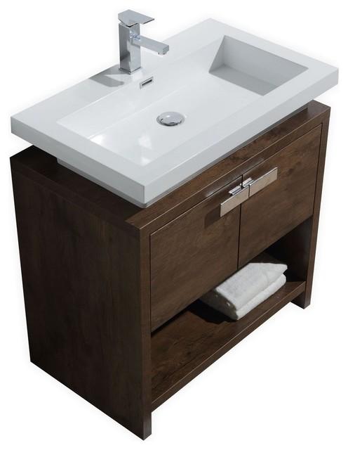Levi Modern Bathroom Vanity With Cubby Hole Contemporary