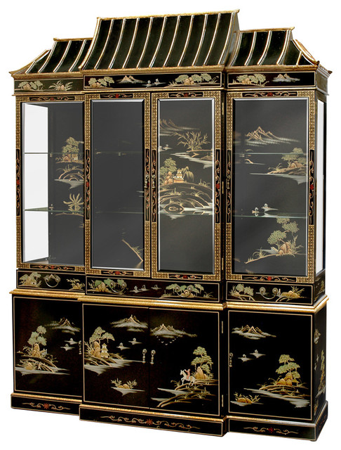 Black Lacquer Pagoda China Cabinet - Asian - China Cabinets And Hutches - by China Furniture and ...