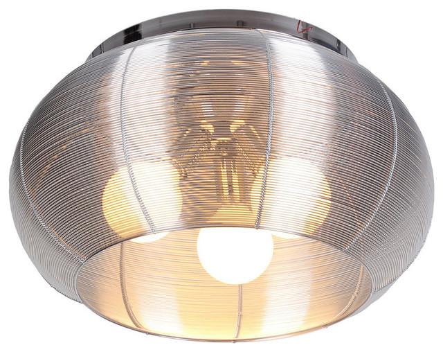 Lenox 3 Light Round Silver Flush Mount.