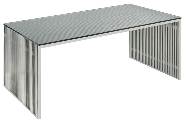 Modern Desk amici desk, stainless steel and glass - modern - desks and hutches