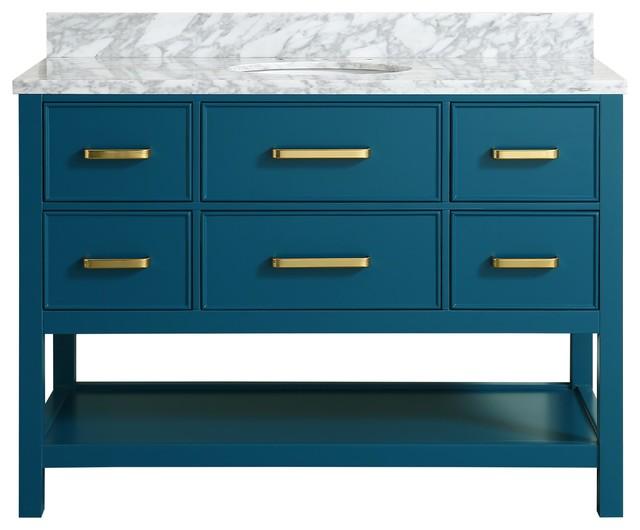 "Louella Blue Bathroom Vanity With Marble Top, 48"""