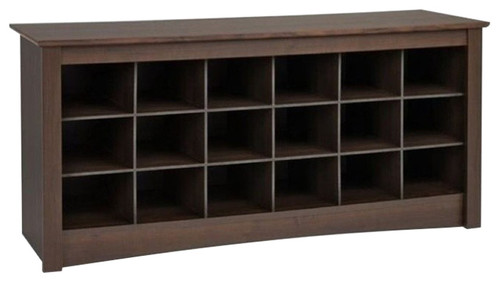 Pemberly Row 18 Cubby Shoe Storage Bench in Espresso