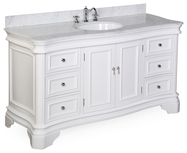 "Katherine Bath Single Vanity, White, Carrara Marble, 60""."