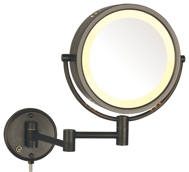 Modern Bronze Wall Mounted Lighted Make Up Mirror
