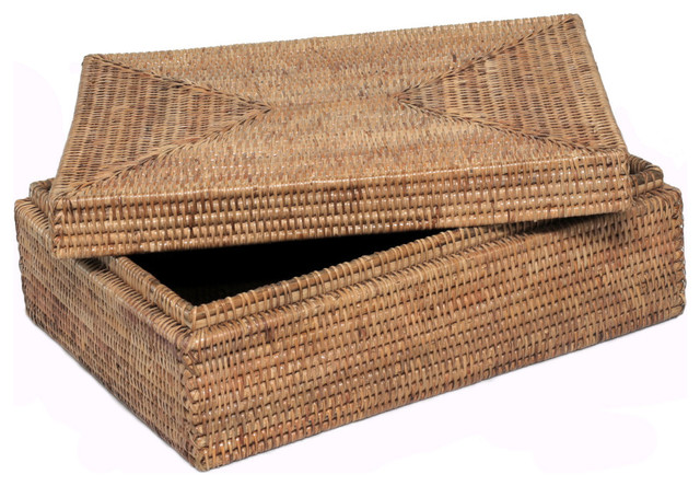 Artifacts Trading Company Rattan Legal File Box With Lid