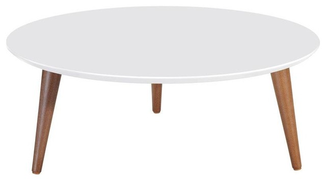 Mid Century Modern Round Low Glossy Coffee Table White