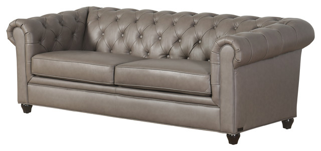 Roman Leather Chesterfield Sofa, Gray