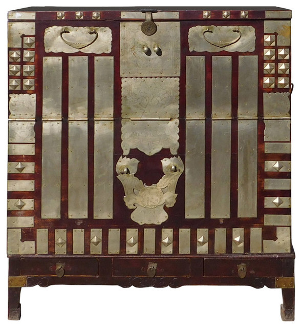 Chinese Korean Style Silver Hardware Trunk Cabinet Hcs1315
