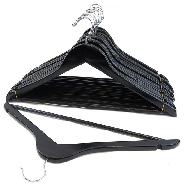 Set Of 48 Wood Suit Hangers, Black.