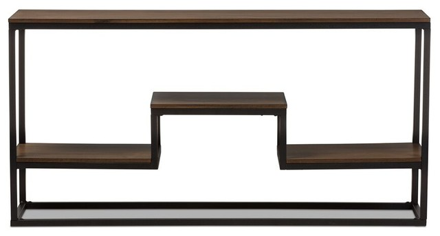 Doreen Rustic Textured Finished Metal Distressed Wood Console Table.