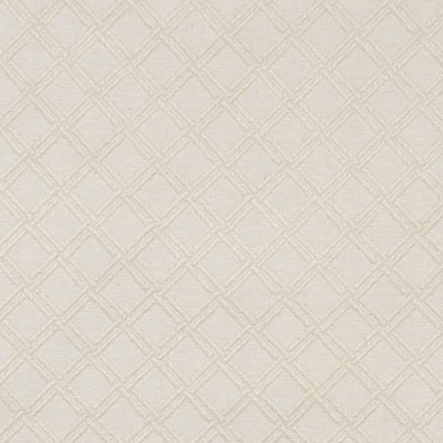 Ivory White Stitched Diamond Woven Matelasse Upholstery Grade Fabric By The Yard