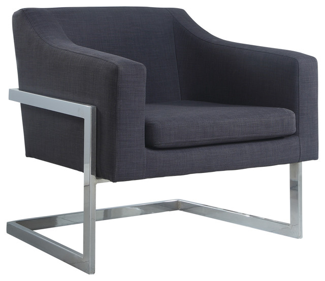 Modern Living Room Chrome Gray Fabric Accent Chair
