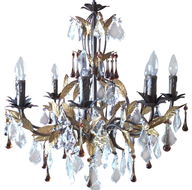 Raven 8Light Chandelier With Clear And Brown Crystal Tears – Brown Chandelier