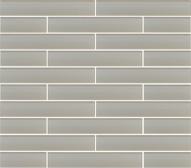 """Country Cottage Light Taupe Glass Subway Tile, 2""""x12"""" Tiles, Set of 6"""