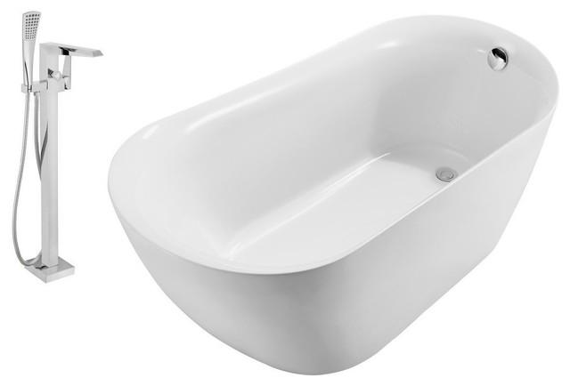 "Streamline Freestanding 67"" Faucet And Tub Set, Showerhead H-100."